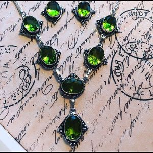 Peridot 925 Silver Necklace and Earrings